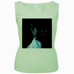 Blue Sphynx Cat Women s Green Tank Top by Valentinaart