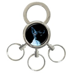 Blue Sphynx Cat 3 Ring Key Chains by Valentinaart