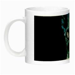 Blue Sphynx Cat Night Luminous Mugs by Valentinaart