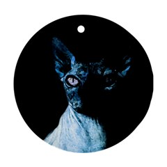 Blue Sphynx Cat Round Ornament (two Sides) by Valentinaart