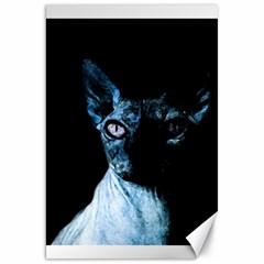 Blue Sphynx Cat Canvas 20  X 30   by Valentinaart