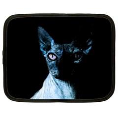 Blue Sphynx Cat Netbook Case (large) by Valentinaart