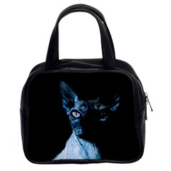 Blue Sphynx Cat Classic Handbags (2 Sides) by Valentinaart