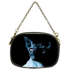 Blue Sphynx Cat Chain Purses (two Sides)  by Valentinaart
