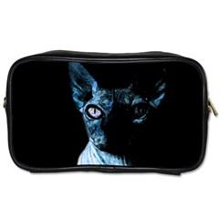 Blue Sphynx Cat Toiletries Bags by Valentinaart