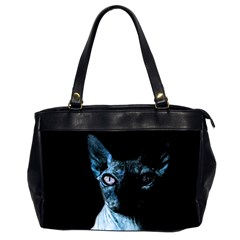 Blue Sphynx Cat Office Handbags (2 Sides)  by Valentinaart