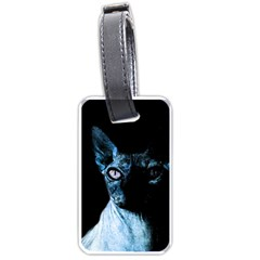 Blue Sphynx Cat Luggage Tags (two Sides) by Valentinaart