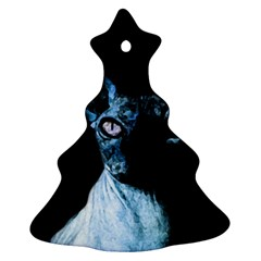 Blue Sphynx Cat Christmas Tree Ornament (two Sides) by Valentinaart