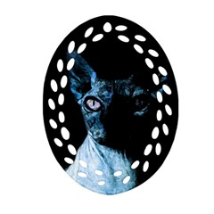 Blue Sphynx Cat Oval Filigree Ornament (two Sides) by Valentinaart