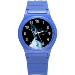 Blue Sphynx Cat Round Plastic Sport Watch (s) by Valentinaart