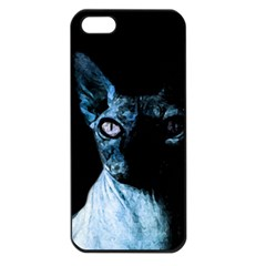 Blue Sphynx Cat Apple Iphone 5 Seamless Case (black) by Valentinaart