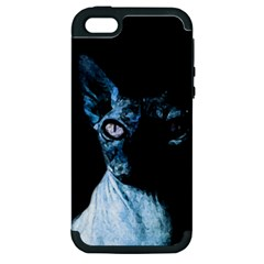 Blue Sphynx Cat Apple Iphone 5 Hardshell Case (pc+silicone) by Valentinaart