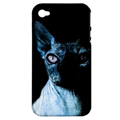 Blue Sphynx Cat Apple Iphone 4/4s Hardshell Case (pc+silicone) by Valentinaart