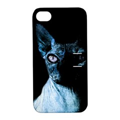 Blue Sphynx Cat Apple Iphone 4/4s Hardshell Case With Stand by Valentinaart