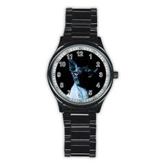 Blue Sphynx Cat Stainless Steel Round Watch by Valentinaart