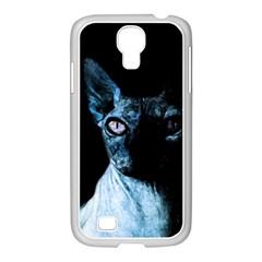 Blue Sphynx Cat Samsung Galaxy S4 I9500/ I9505 Case (white) by Valentinaart