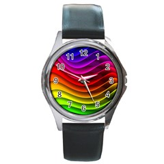 Spectrum Rainbow Background Surface Stripes Texture Waves Round Metal Watch by Simbadda