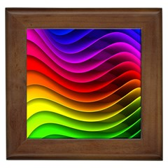 Spectrum Rainbow Background Surface Stripes Texture Waves Framed Tiles by Simbadda