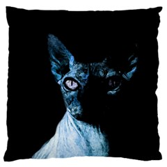 Blue Sphynx Cat Large Flano Cushion Case (two Sides) by Valentinaart