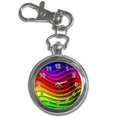 Spectrum Rainbow Background Surface Stripes Texture Waves Key Chain Watches by Simbadda