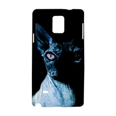 Blue Sphynx Cat Samsung Galaxy Note 4 Hardshell Case by Valentinaart
