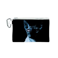 Blue Sphynx Cat Canvas Cosmetic Bag (s) by Valentinaart