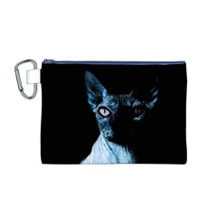 Blue Sphynx Cat Canvas Cosmetic Bag (m) by Valentinaart