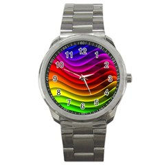 Spectrum Rainbow Background Surface Stripes Texture Waves Sport Metal Watch by Simbadda