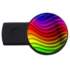 Spectrum Rainbow Background Surface Stripes Texture Waves Usb Flash Drive Round (4 Gb) by Simbadda