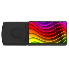 Spectrum Rainbow Background Surface Stripes Texture Waves Usb Flash Drive Rectangular (4 Gb) by Simbadda