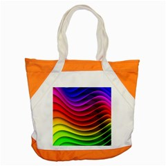 Spectrum Rainbow Background Surface Stripes Texture Waves Accent Tote Bag by Simbadda