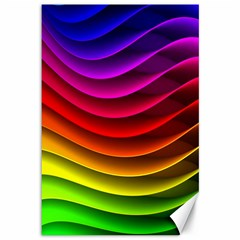 Spectrum Rainbow Background Surface Stripes Texture Waves Canvas 12  X 18   by Simbadda