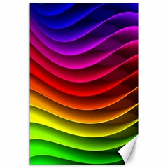 Spectrum Rainbow Background Surface Stripes Texture Waves Canvas 24  X 36  by Simbadda