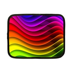 Spectrum Rainbow Background Surface Stripes Texture Waves Netbook Case (small)  by Simbadda