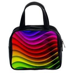Spectrum Rainbow Background Surface Stripes Texture Waves Classic Handbags (2 Sides) by Simbadda