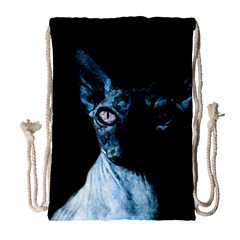 Blue Sphynx Cat Drawstring Bag (large) by Valentinaart