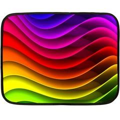 Spectrum Rainbow Background Surface Stripes Texture Waves Fleece Blanket (mini) by Simbadda