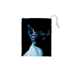 Blue Sphynx Cat Drawstring Pouches (xs)  by Valentinaart