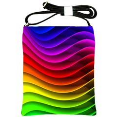 Spectrum Rainbow Background Surface Stripes Texture Waves Shoulder Sling Bags by Simbadda