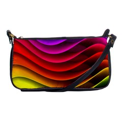 Spectrum Rainbow Background Surface Stripes Texture Waves Shoulder Clutch Bags by Simbadda