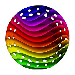 Spectrum Rainbow Background Surface Stripes Texture Waves Ornament (round Filigree) by Simbadda