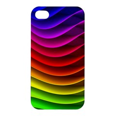 Spectrum Rainbow Background Surface Stripes Texture Waves Apple Iphone 4/4s Hardshell Case by Simbadda