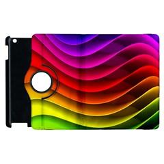 Spectrum Rainbow Background Surface Stripes Texture Waves Apple Ipad 2 Flip 360 Case by Simbadda