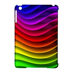 Spectrum Rainbow Background Surface Stripes Texture Waves Apple Ipad Mini Hardshell Case (compatible With Smart Cover) by Simbadda