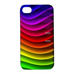 Spectrum Rainbow Background Surface Stripes Texture Waves Apple Iphone 4/4s Hardshell Case With Stand by Simbadda
