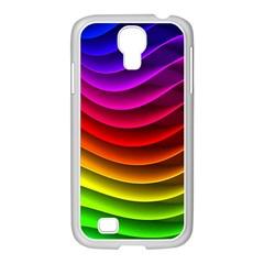 Spectrum Rainbow Background Surface Stripes Texture Waves Samsung Galaxy S4 I9500/ I9505 Case (white) by Simbadda
