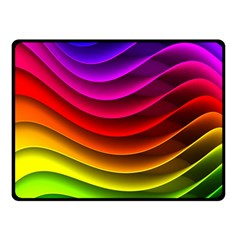 Spectrum Rainbow Background Surface Stripes Texture Waves Double Sided Fleece Blanket (small)  by Simbadda