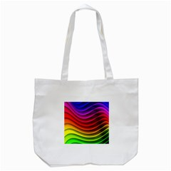 Spectrum Rainbow Background Surface Stripes Texture Waves Tote Bag (white) by Simbadda