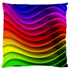 Spectrum Rainbow Background Surface Stripes Texture Waves Standard Flano Cushion Case (one Side) by Simbadda