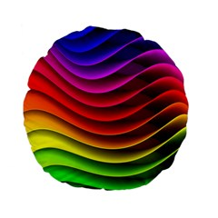 Spectrum Rainbow Background Surface Stripes Texture Waves Standard 15  Premium Flano Round Cushions by Simbadda